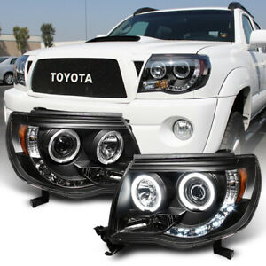 For-Black-2005-2011-Toyota-Tacoma-LED-Halo-Projector-Headlights-lamps-Pre-Runner
