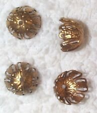 VINTAGE OPEN CUT WORK FILIGREE BRASS BEAD CAPS FINDINGS 16 PCS FOR YOUR DESIGNS