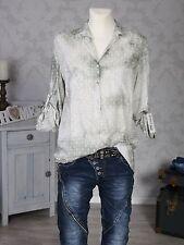 ITALY Damen Bluse Tunika Hemd Fischerhemd langarm khaki Batik Neu 34-38