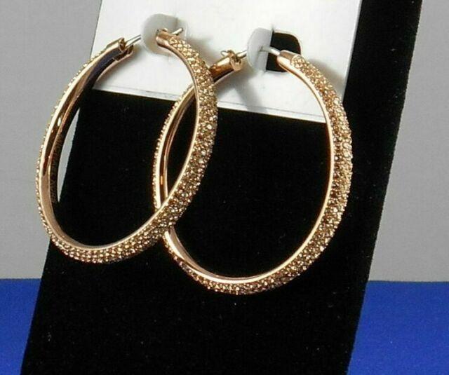 8537f63c7f7d7 MICHAEL KORS MKJ2083791 BRILLIANCE Rose Gold Crystals Hoop Earrings MKJ2083  NIB
