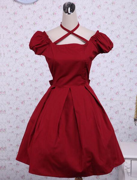 New Pretty womens girls fashion Cotton Red Bow Classic sweet Lolita Dresses