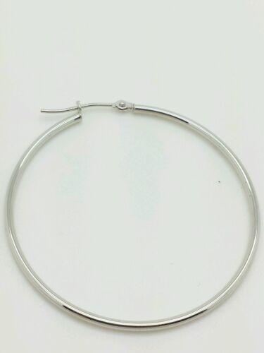 14k White Gold High Polish Tube Hoop Earrings 1.5mm x 40mm