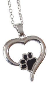 Collier-pendentif-motif-patte-d-039-animal-chien-chat-dans-coeur-argente