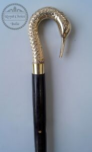 Vintage-Crane-Bird-Shape-Brass-Handle-Wooden-Walking-Cane-Stick-Nautical-Style