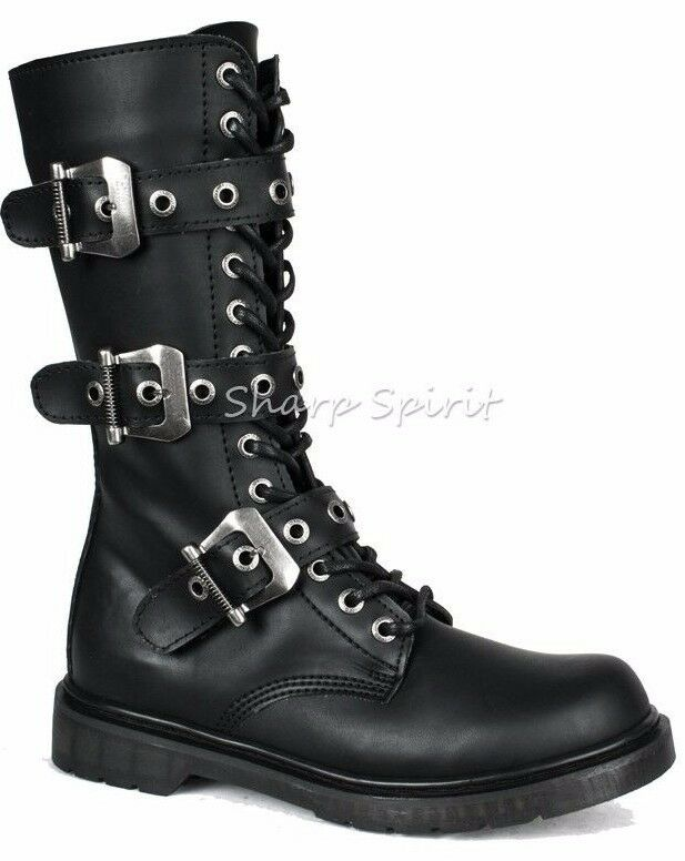 Steampunk Military Combat Rivithead Cyber Punk Gothic Biker Cosplay Mens Boots