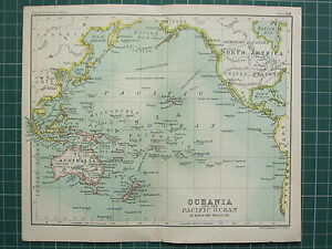 1904 small map oceania pacific ocean australia polynesia image is loading 1904 small map oceania amp pacific ocean australia gumiabroncs Images