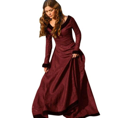 New Vintage Damen Mittelalter Renaissance Langes Kleid Prinzessin Cosplay Kostüm