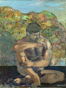 Nude-Male-Man-Art-Figure-Original-Oil-Painting-18-034-x24-034-Signed-Gay-Interest