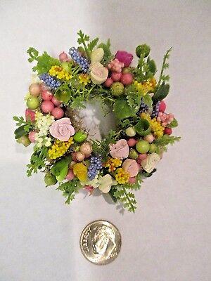 "Miniature Doll//dollhouse 1 1//2/"" wreath//assorted floral design #5 1:12"