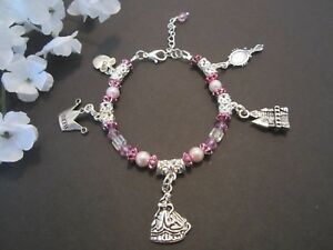 a34a100b1e95b Details about Purple Cinderella Castle Mirror Apple Princess Charm Bracelet  Great Kids Gift