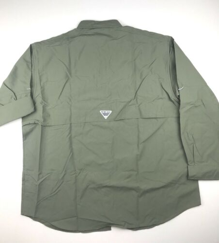 Columbia PFG Mens 1X  Bahama ll Green Roll Up L//S Omni Shade Button Shirt NWT