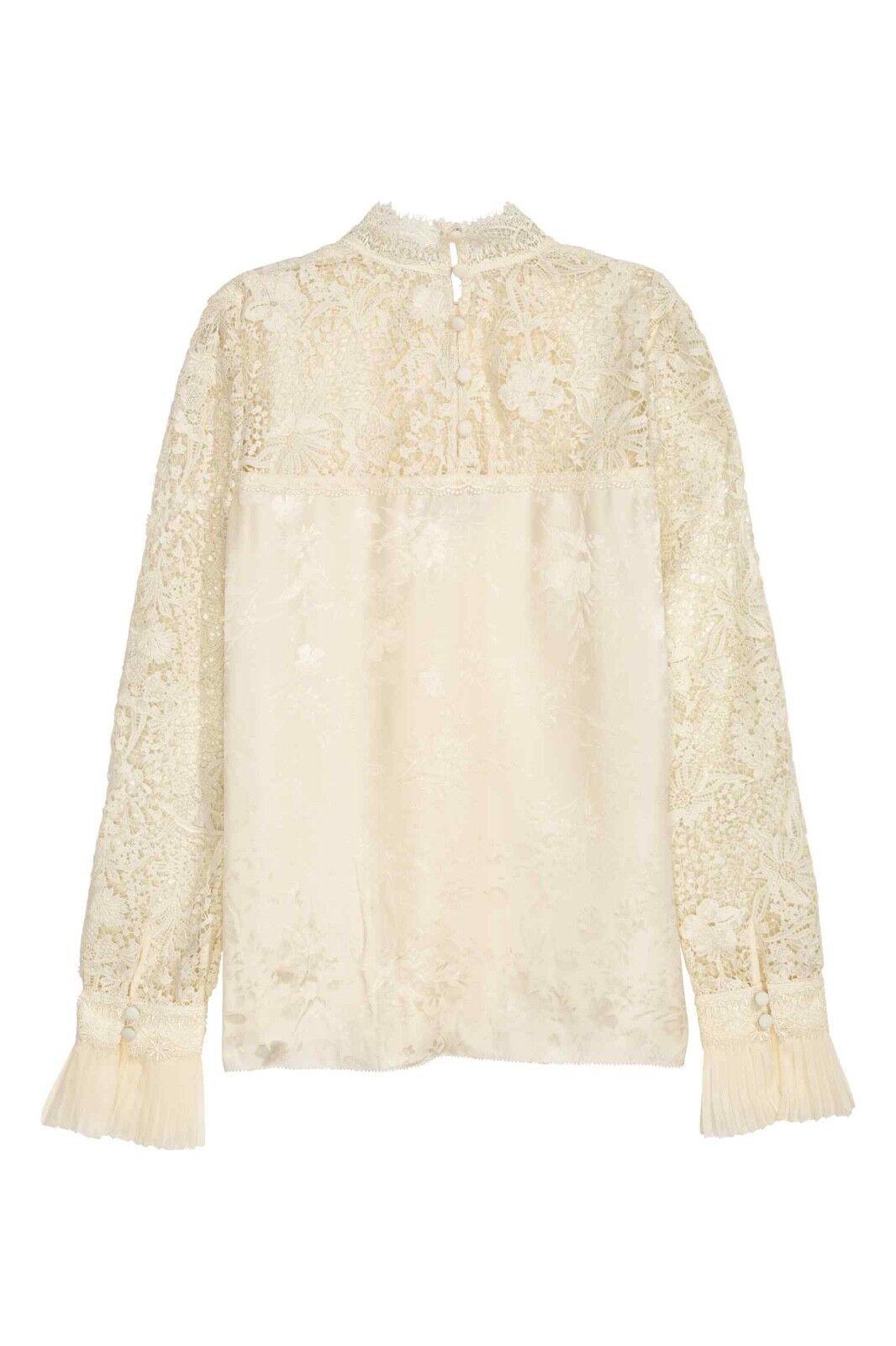 Erdem x H&M Natural Weiß Silk Blouse with lace-Größe 8