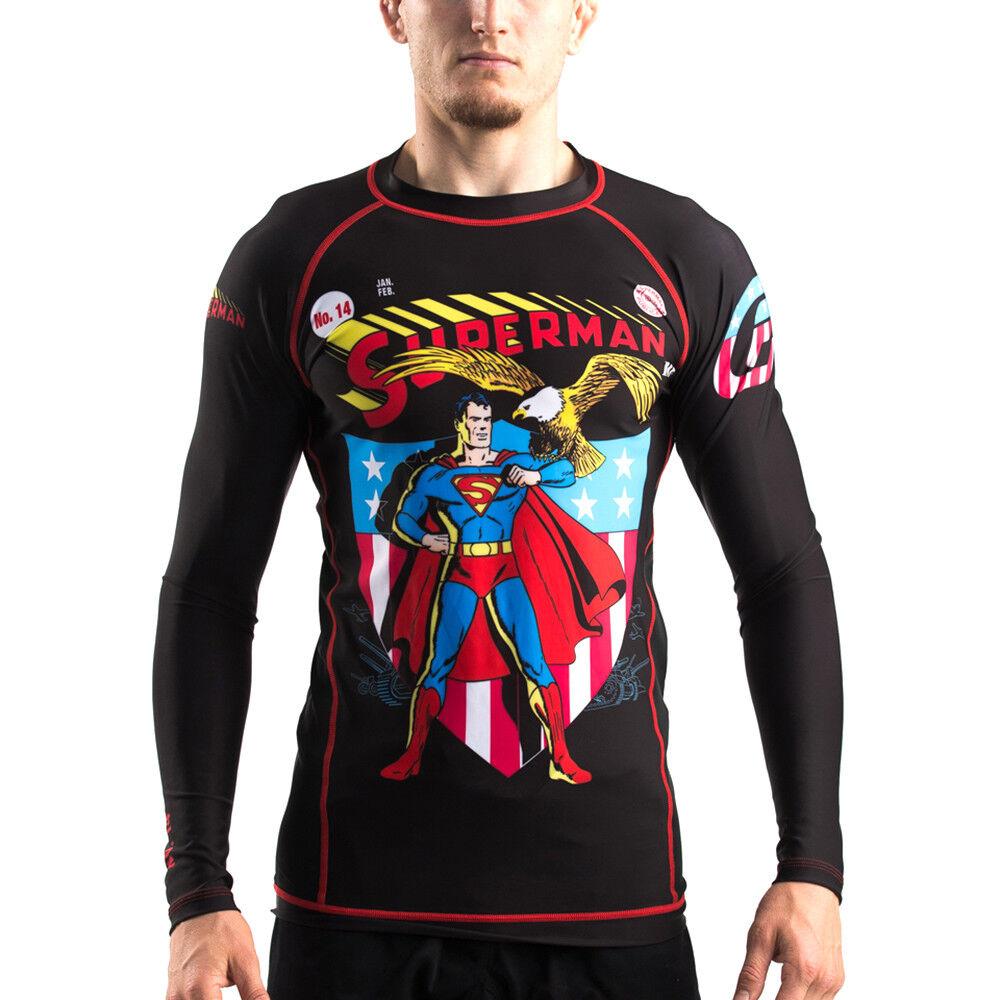 Fusion Fight Gear Superman Americana Compression Shirt BJJ Rash Guard