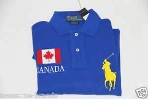Polo ralph lauren men blue neon shirt big pony canada flag for Custom polo shirts canada