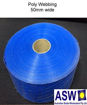 POLY WEBBING REINFORCING Tape BLUE Sew On Edge Shade Cloth 50mm wide x 50m roll