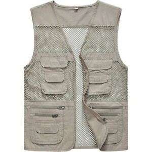Men Mesh Sleeveless Utility Multi Pocket Zip Fishing Work Vest Outdoor Waistcoat