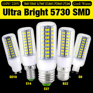 E14-E27-B22-GU10-G9-LED-Lights-Bright-Energy-Saving-Corn-Bulb-Lamp-5730SMD-7-25W