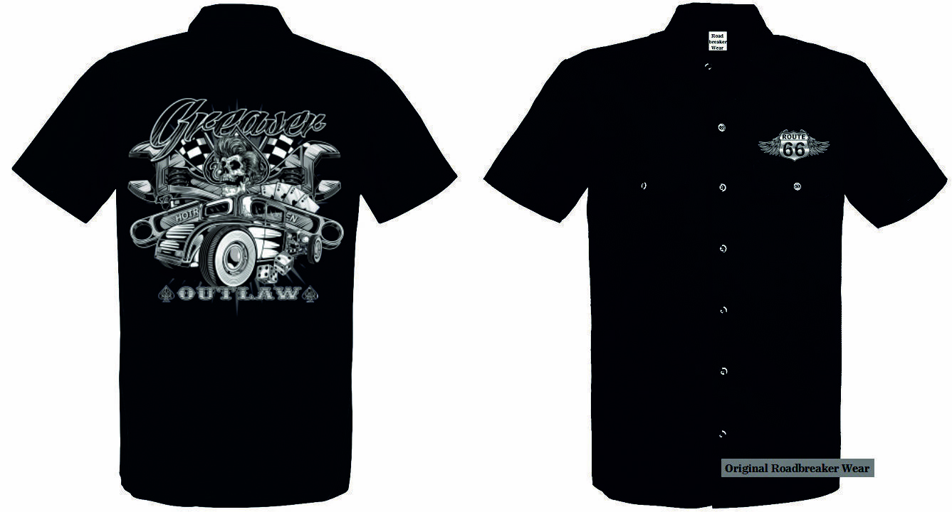 Worker Shirt 2 Farbtöne Hot Rod US Car V8&Oldschoolmotiv Modell Outlaw Greaser