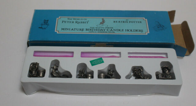 RARE Minature Beatrix Potter Pewter 6 Birthday Candle Holders