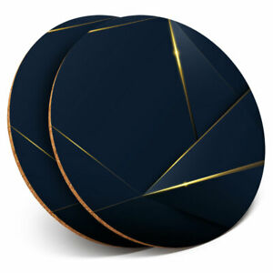 2-x-Coasters-Luxury-Blue-Gold-Pattern-Art-Home-Gift-3022