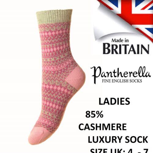 Floria Pantherella Donna 85/% CASHMERE FairIsle Jacquard Sock Taglia UK 4-7
