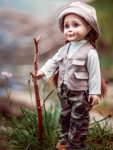 Hat Fits American Girl Shirt 18 Inch Doll Fishing Outfit Vest Pants