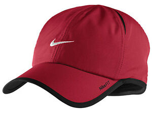 2baac57f195 New Nike Feather Light Cap Hat Dri Fit Running Tennis Red   White ...