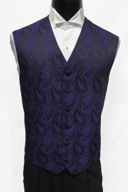 Mens Purple Paisley Pattern Tuxedo Fullback Vest Wedding Medium