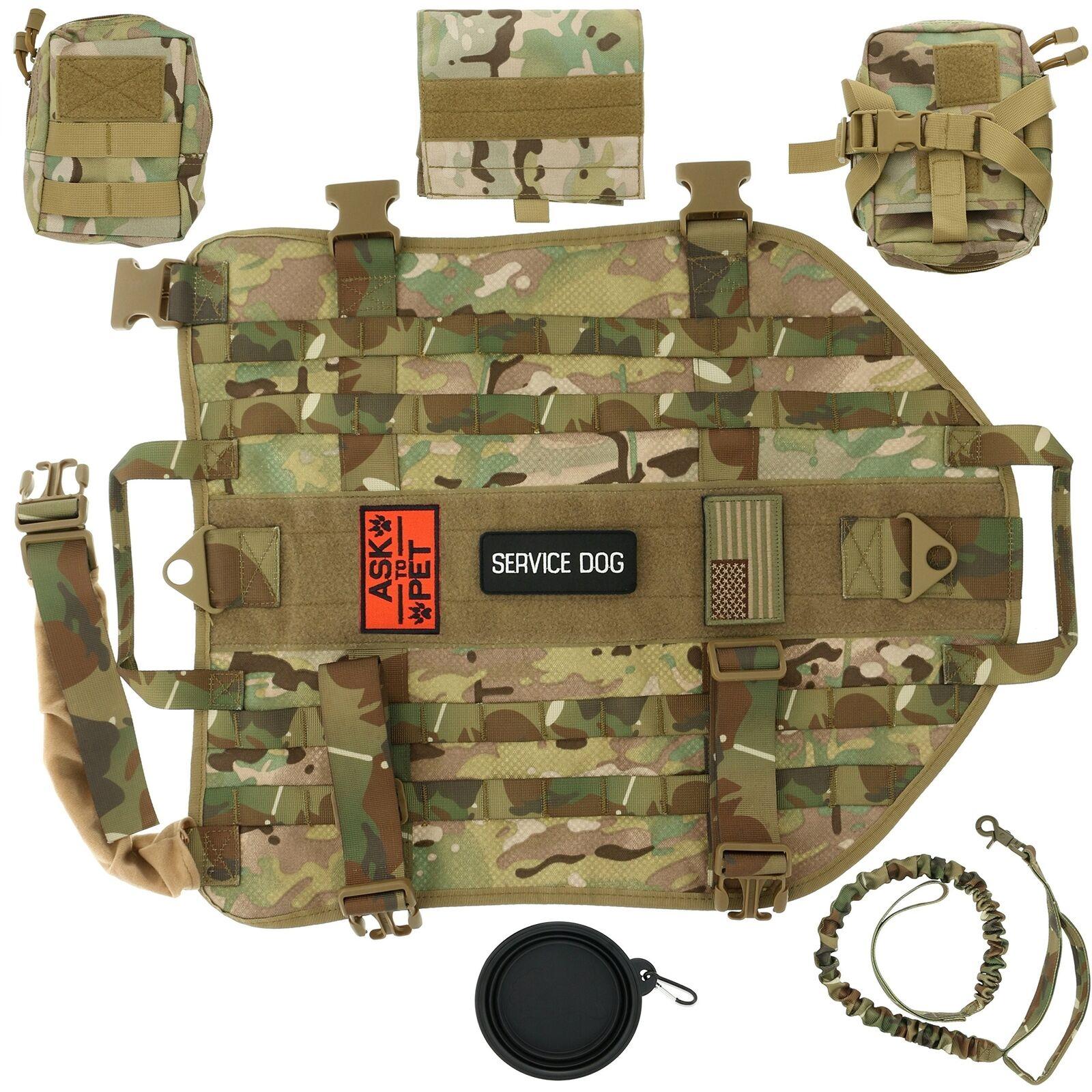 Dog Tactical Harness XL – 1000D Nylon Molle Vest w Leash 3 Pouches & Patches