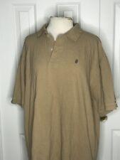 IZOD Mens Beige Short Sleeve Golf Polo Shirt Size Large 100 Cotton