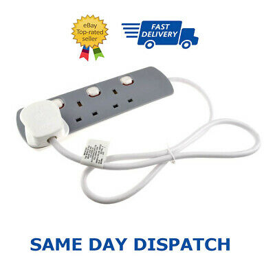 3 Gang Mains Extension Lead 3 Way UK Power Sockets Switched 2M Grey Colour
