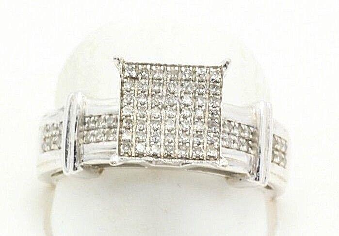 Vintage Large Diamond Engagement Ring White gold