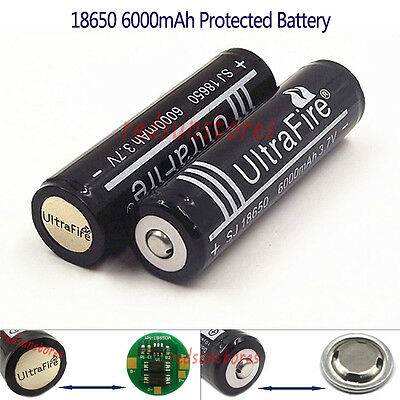 2X6000mAh 18650 Protected Li-ion Rechargeable Battery Built-in Protection Board