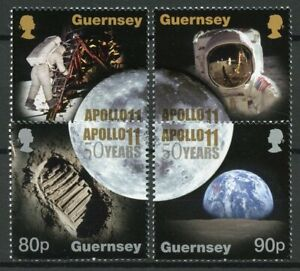 Guernsey-2019-MNH-Apollo-11-Moon-Landing-50th-Anniv-4v-Set-Space-Stamps