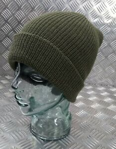 Genuine US Army Green Beanie Hat / Watch Cap / Skullcap 100% Wool - NEW