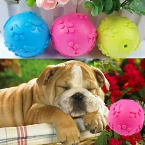 Pet Dog Aggressive Chew Toys Indestructible Rubber Squeaker Sound Ball W2A8