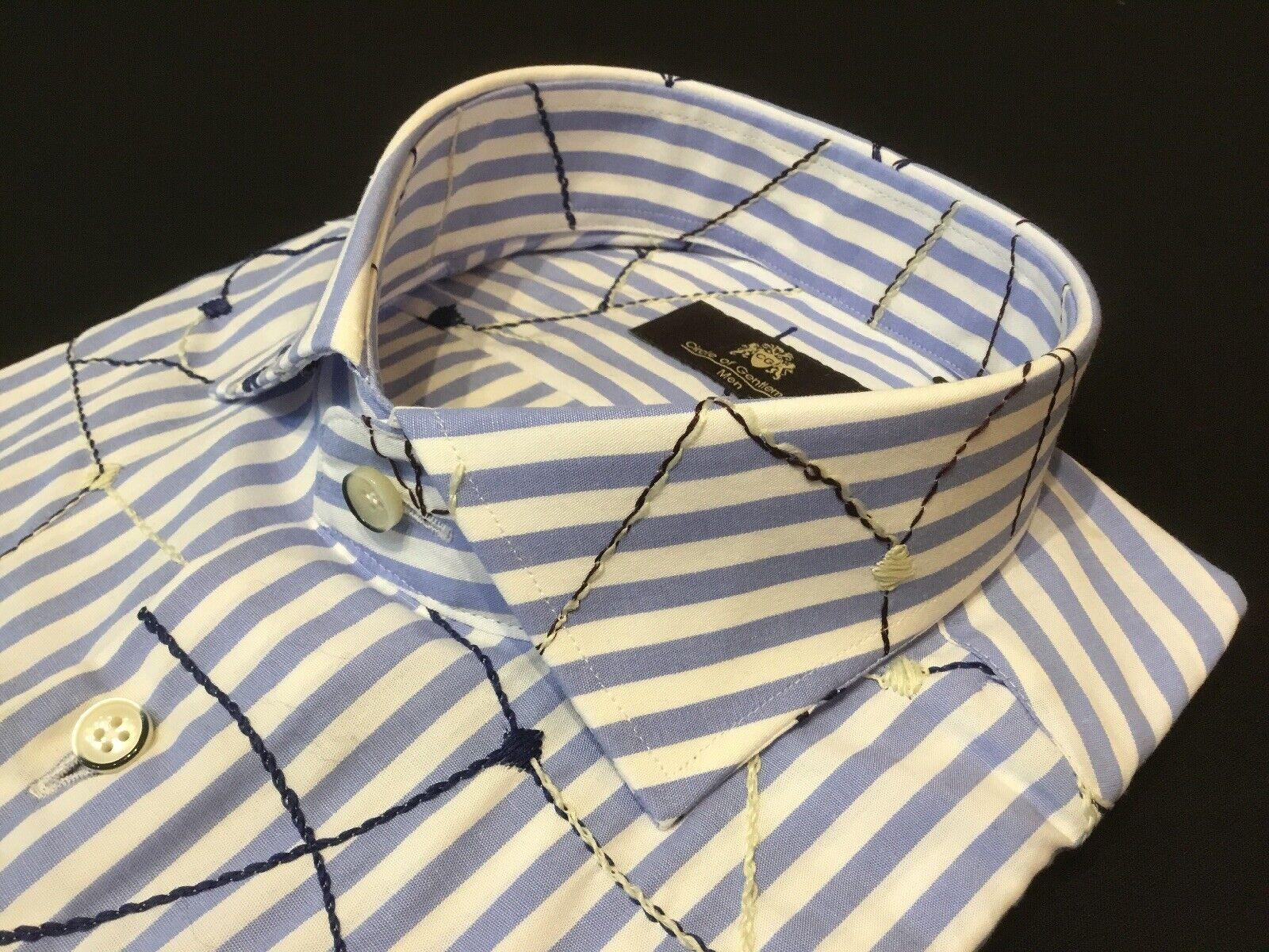"Circle Of Gentlemänner 15 1 2""halsband 43 1 4""Chest Blau Stripe Patterned hemd"