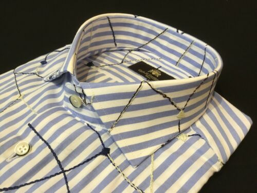 "Circle of GENTLEMEN 15 1//2/"" Collar 43 1//4/"" sul petto camicia blu a righe con motivo £ 159"