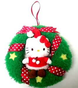 Details About Rare Hello Kitty Christmas Wreath Holiday Plush Plushie Ornament Sanrio 2010