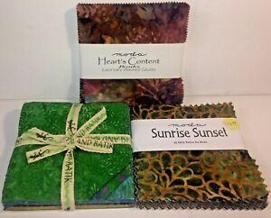 Batik-Charm-Squares-Set-of-3-100-Cotton-Quilt-Fabric-Moda-amp-Island-Batik-122-Sq