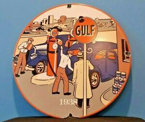 VINTAGE GULF GASOLINE PORCELAIN GAS & OIL SERVICE STATION PUMP PLATE SIGN