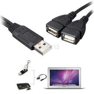 USB 2.0 A Male To 2 Dual USB Female Y Splitter Hub Power OTG Adapter Cable Cord