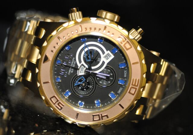 Invicta Men's Rare 0820 Subaqua Swiss Reserve Chrono Black Dial Gold Steel Watch
