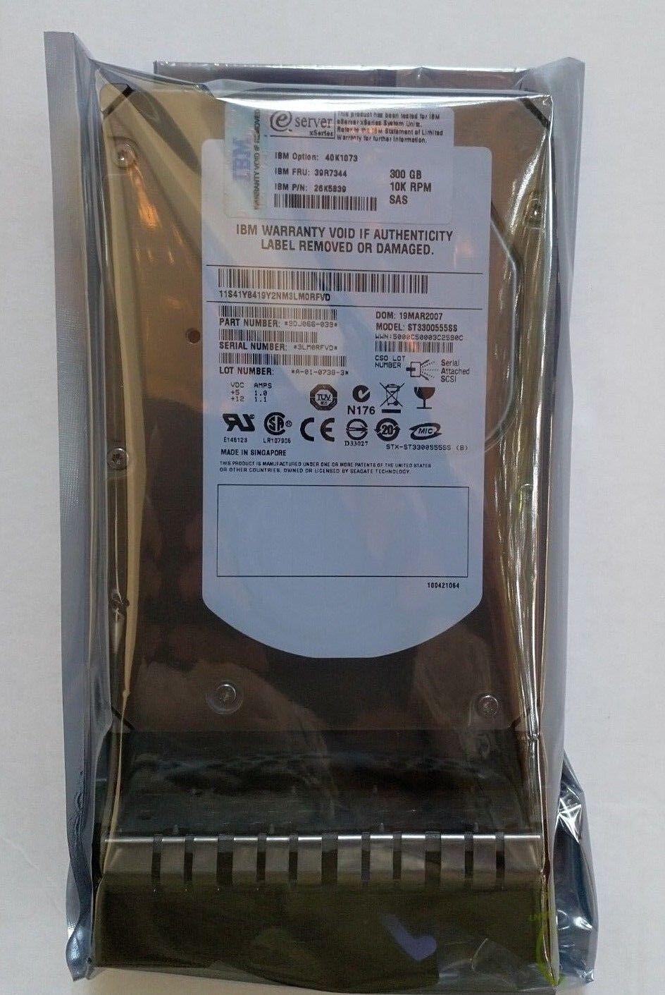 IBM 40K1041 39R7344 26K5514 300GB 10K 3G LFF 3.5/'/' SAS HDDGrade A