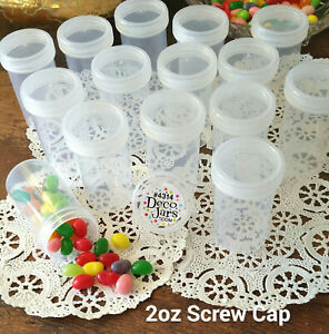 15-Pill-Bottle-JARS-Plastic-Container-Clear-Cap-Hobby-2-oz-60ml-4314-DecoJars