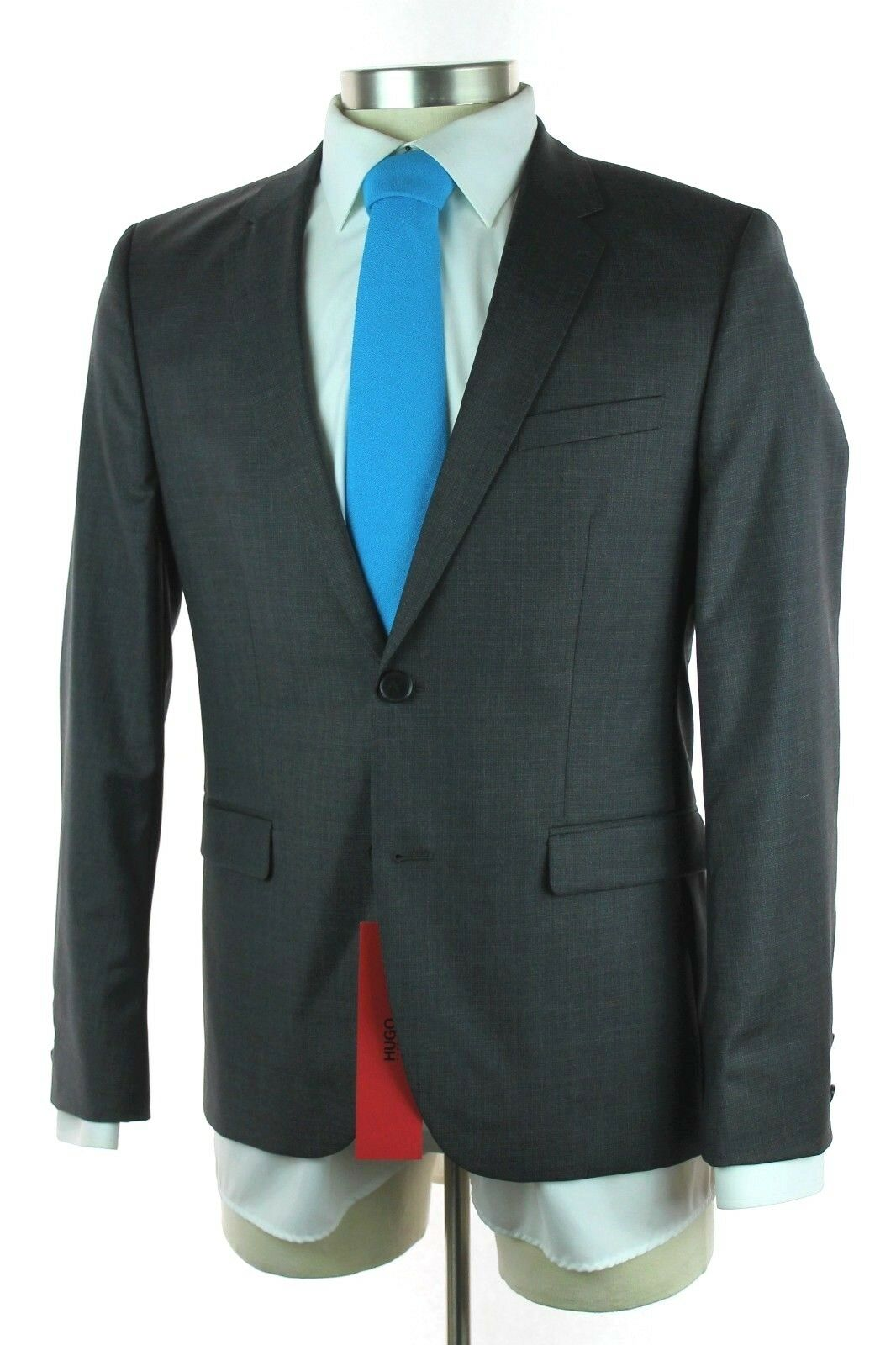 NWT HUGO BOSS ROT LABEL Astain Hets Grau Wool 2Btn Flat Front Suit 50 40 40S