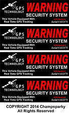 4 Automotive Car Truck SECURITY ALARM GPS Decal Stickers Apply OUTSIDE Window