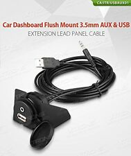 XTRONS Car Dashboard Flush Mount USB 2.0 3.5mm AUX Socket Extension Lead Panel
