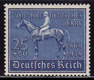 THIRD-REICH-Mi-698-mint-Blaues-Band-Horse-Race-stamp-CV-24-00