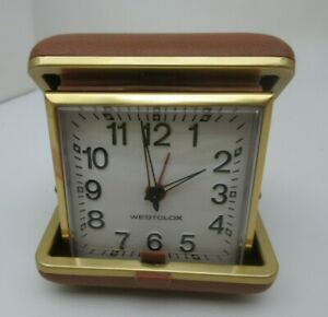 Westclox Folding Vintage Wind Up TRAVEL ALARM CLOCK Clock Tan Case Working